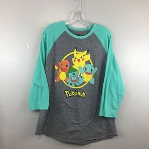 Pokemon 3/4 Sleeve Gray Turquoise Baseball T-Shirt